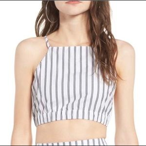 NWT! Obey Chambers Navy Stripe Crop Top in Large